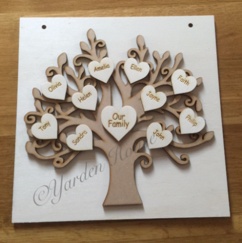 Family Tree (Various) Hanging (3D) Plaque. Supplied loose for you to assemble in your own style.